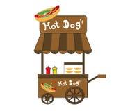 Vettore del venditore del hot dog del supporto della cabina Immagine Stock