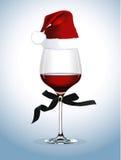 Vettore del vetro del vino rosso Festa di Natale Fotografie Stock Libere da Diritti