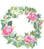 Vettore dell'acquerello della corona della rosa rossa Fotografia Stock Libera da Diritti