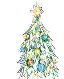 Vettore dell'albero di Natale dell'illustratore Fotografie Stock
