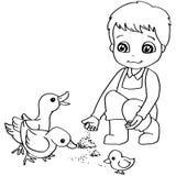 Vettore dell'anatra di alimentazione dei bambini del libro da colorare Immagine Stock Libera da Diritti