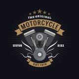 Vettore dell'annata di tipografia dell'insegna di logo del motore del motociclo Fotografia Stock