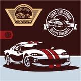 Vettore dell'automobile sportiva. Emblema del club dell'automobile sportiva Fotografia Stock Libera da Diritti