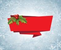 Vettore dell'etichetta del nastro dell'insegna di Natale Fotografia Stock