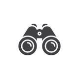 Vettore dell'icona del binocolo, segno piano riempito illustrazione vettoriale