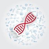Vettore dell'icona del DNA sul fondo disegnato a mano di scarabocchi di sanità Segno semplice moderno di evoluzione di vita Affar illustrazione vettoriale