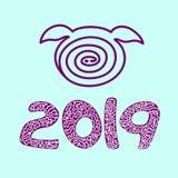 Vettore dell'icona del maiale 2019, buon anno Backgraund blu, immagine stock