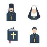 Vettore dell'icona del prete cattolico Immagine Stock