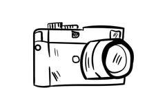 Vettore dell'icona della macchina fotografica con stile di scarabocchio Fotografia Stock