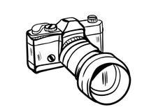 Vettore dell'icona della macchina fotografica con stile di scarabocchio Fotografia Stock Libera da Diritti