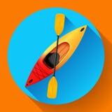 Vettore dell'icona della pagaia e del kajak Attività esterne Kajak rosso giallo, icona piana del kajak del mare Immagini Stock Libere da Diritti