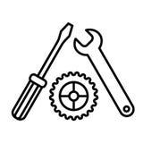 Vettore dell'icona delle regolazioni, del cacciavite, della chiave e dell'ingranaggio Icona dello strumento isolata su bianco Ass Fotografia Stock