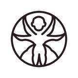 Vettore dell'icona dell'uomo di Vitruvian isolato sul segno bianco dell'uomo di Vitruvian, del fondo, sulla linea simbolo o sulla illustrazione di stock