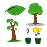 Vettore dell'illustrazione del disegno del fiore e dell'albero Fotografie Stock Libere da Diritti