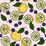 Vettore dell'illustrazione del fondo del mirtillo e di Basil Leaf Surface Pattern Fruity del limone Fotografia Stock