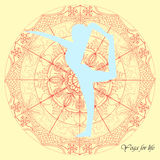 Vettore dell'illustrazione della mandala di yoga Fotografia Stock Libera da Diritti