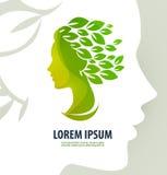 Vettore dell'illustrazione di bellezza di profilo della donna logo, illustrazione vettoriale
