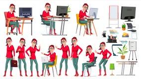 Vettore dell'impiegato di concetto Donna Riuscito ufficiale, impiegato, servo Emo Hairstyle pose Lavoratrice di affari Fronte illustrazione di stock