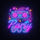 vettore dell'insegna al neon del partito 80s Di nuovo al modello al neon di progettazione degli anni 80, progettazione moderna di royalty illustrazione gratis