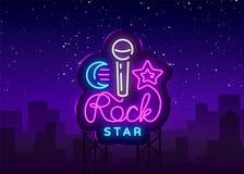 Vettore dell'insegna al neon del rock star Modello di progettazione di vettore di logo del rock star, vita notturna, musica in di Fotografia Stock Libera da Diritti
