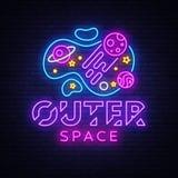 Vettore dell'insegna al neon dello spazio cosmico Insegna al neon del modello di progettazione di spazio, insegna leggera, insegn royalty illustrazione gratis