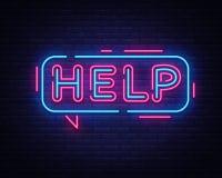 Vettore dell'insegna al neon di aiuto Insegna al neon del modello di progettazione di aiuto, insegna leggera, insegna al neon, pu royalty illustrazione gratis