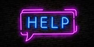Vettore dell'insegna al neon di aiuto Insegna al neon del modello di progettazione di aiuto, insegna leggera, insegna al neon, pu illustrazione vettoriale