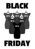 Vettore dell'insegna di Black Friday Piccolo vestito nero Immagini Stock