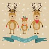 Vettore dell'insegna di Buon Natale della famiglia della renna illustrazione EPS1 Fotografia Stock