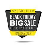 Vettore dell'insegna di vendita di Black Friday Fino a 50 per cento fuori dal distintivo di venerdì Manifesto pazzo di vendita Il Fotografia Stock
