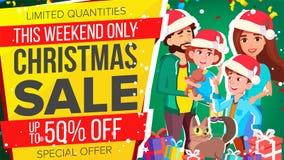 Vettore dell'insegna di vendita di Natale Insegna di vendita di offerta speciale Fondo Illustrazione illustrazione di stock