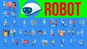 Vettore dell'insieme dell'assistente del robot Situazioni future di stile di vita Lavoro, comunicante insieme Cyborg, umanoide fu illustrazione di stock