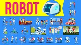 Vettore dell'insieme dell'assistente del robot Situazioni future di stile di vita Lavoro, comunicante insieme Cyborg, umanoide fu royalty illustrazione gratis