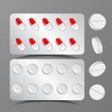 Vettore dell'insieme dei cuscini Capsula medica Antibiotico della farmacia Droga rotonda Illustrazione realistica illustrazione di stock