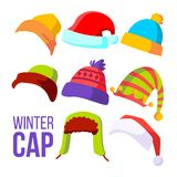 Vettore dell'insieme del cappuccio di inverno Cappelleria del freddo Cappelli, cappucci Vestiti dell'abito per l'autunno Illustra illustrazione di stock