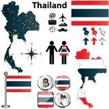 Mappa della Tailandia Immagine Stock Libera da Diritti