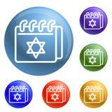 Vettore dell'insieme delle icone del calendario ebreo illustrazione vettoriale