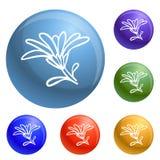 Vettore dell'insieme delle icone del fiore della calendula illustrazione vettoriale