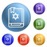 Vettore dell'insieme delle icone del libro di Torah illustrazione vettoriale