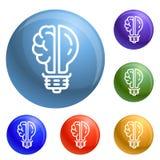 Vettore dell'insieme delle icone della lampadina del cervello royalty illustrazione gratis