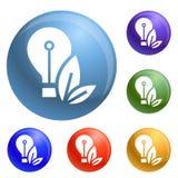 Vettore dell'insieme delle icone della lampadina di Eco royalty illustrazione gratis