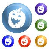 Vettore dell'insieme delle icone della zucca di Halloween royalty illustrazione gratis
