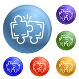 Vettore dell'insieme delle icone di lavoro di squadra di puzzle illustrazione di stock