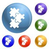 Vettore dell'insieme delle icone di puzzle illustrazione di stock