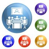 Vettore dell'insieme delle icone di videoconferenza illustrazione di stock