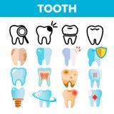 Vettore dell'insieme dell'icona del dente Draphic dentario Assistenza medica orale Icona di dolore di dente della bocca Linea, il illustrazione vettoriale
