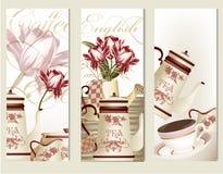 Vettore dell'opuscolo fissato con gli accessori d'annata del tè illustrazione di stock