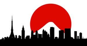 Vettore dell'orizzonte della città di Tokyo con la bandierina Immagine Stock