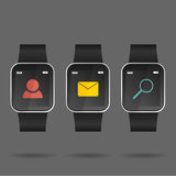 Vettore dell'orologio astuto con l'icona sociale Immagine Stock