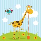 Vettore dell'uccello e della giraffa Fotografia Stock Libera da Diritti